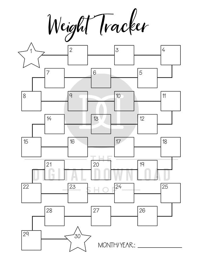 picture about Weight Loss Tracker Printable identify 2 Excess weight Tracker Printables The Electronic Obtain Store