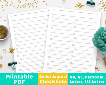 Bullet Journal Checklists Printable