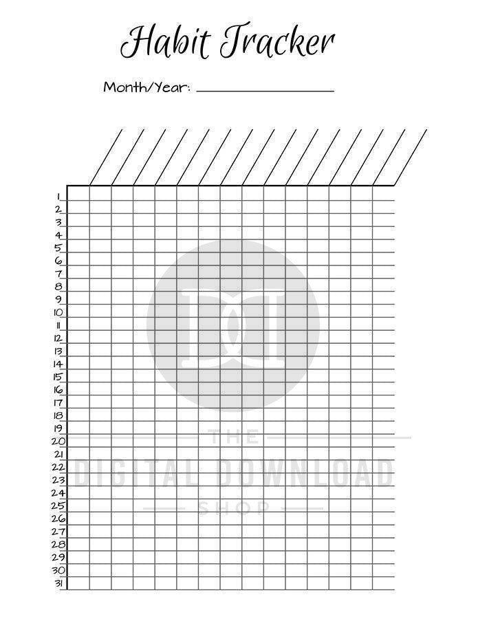 photograph relating to Bullet Journal Habit Tracker Printable titled Bullet Magazine Practice Trackers Printable