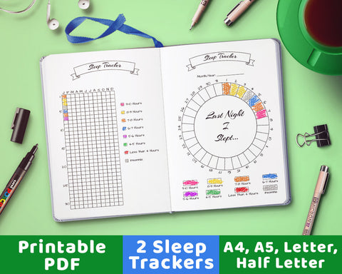 2 bullet journal sleep trackers- one circle sleep tracker + one vertical sleep tracker. Use these bujo printables for a fun, colorful way to help track your sleep!