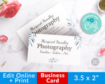 Editable Business Card Template- Blue Watercolor
