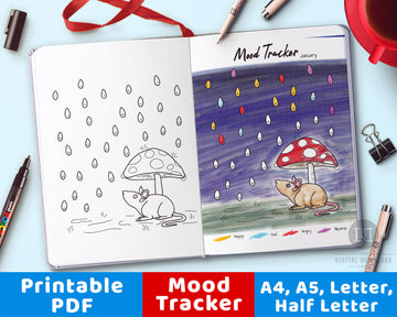 Mouse + Mushroom Mood Tracker Printable- Color by Mood