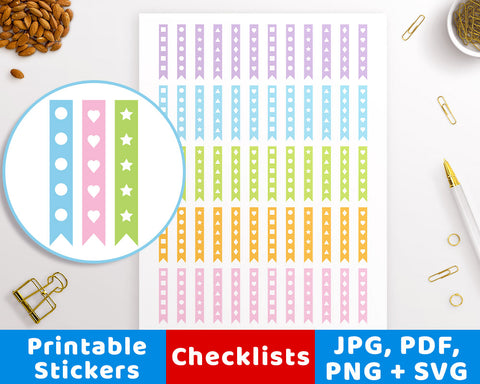 Checklist Printable Planner Stickers- The Digital Download Shop