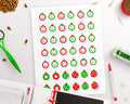 Christmas Countdown Printable Planner Stickers- Ornaments