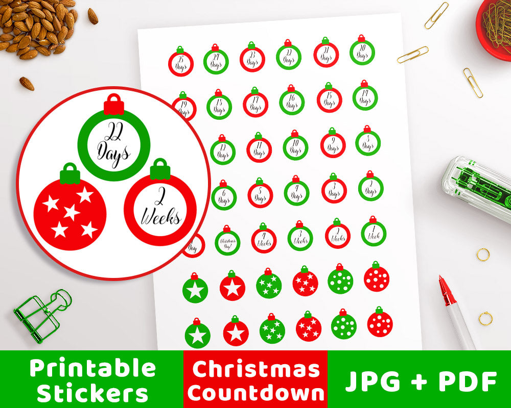 graphic relating to Countdown Printable identified as Xmas Countdown Printable Planner Stickers- Ornaments