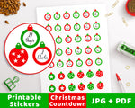 Christmas Countdown Printable Planner Stickers- Ornaments- The Digital Download Shop