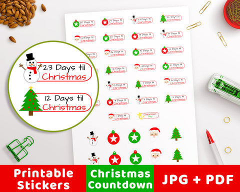 Christmas Countdown Printable Planner Stickers- Tab- The Digital Download Shop