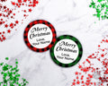 Christmas Buffalo Check Labels Editable- Round *EDIT ONLINE*