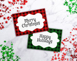 Buffalo Check Christmas Labels Template Printable