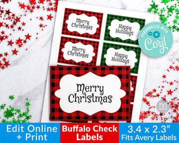 Buffalo Check Christmas Labels Template Printable *EDIT ONLINE*