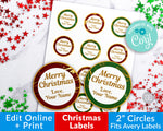 Gold Marble Christmas Circle Labels Editable Printable
