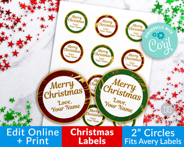 Gold Marble Christmas Circle Labels Editable Printable *EDIT ONLINE*