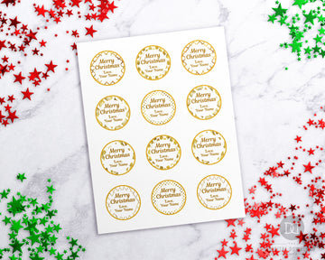Christmas Round Labels Gold + White Editable Printable *EDIT ONLINE*