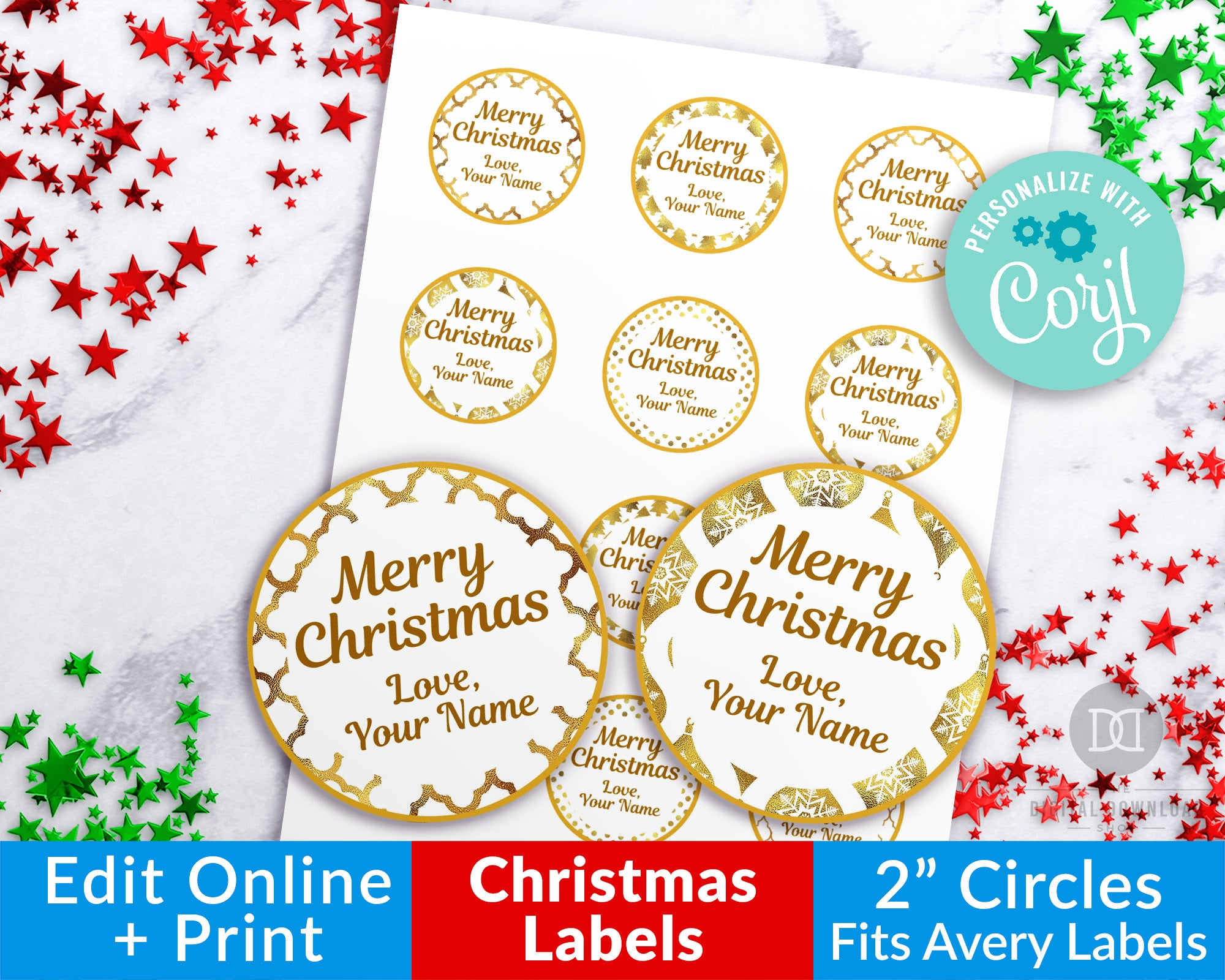 Christmas Round Labels Gold White Editable Printable Edit Online The Digital Download Shop