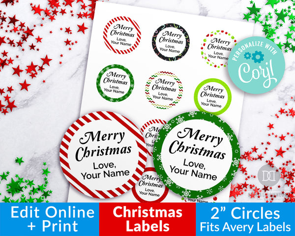 Christmas Labels Editable- Round