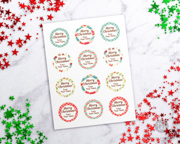 Christmas Gift Stickers Editable Printable- Vintage *EDIT ONLINE*