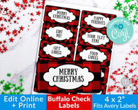 Buffalo Plaid Labels Editable Printable- Narrow