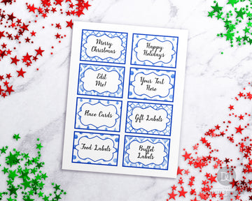 Christmas Labels Template Editable Printable- Blue *EDIT ONLINE*