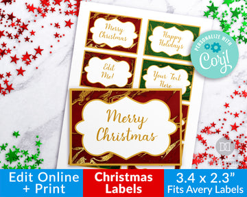 Gold Marble Christmas Labels Editable Printable *EDIT ONLINE*