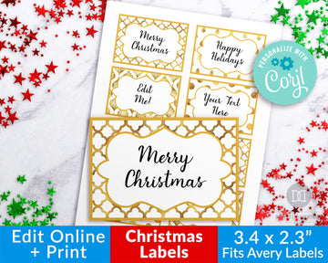 Gold Christmas Labels Editable Printable *EDIT ONLINE*