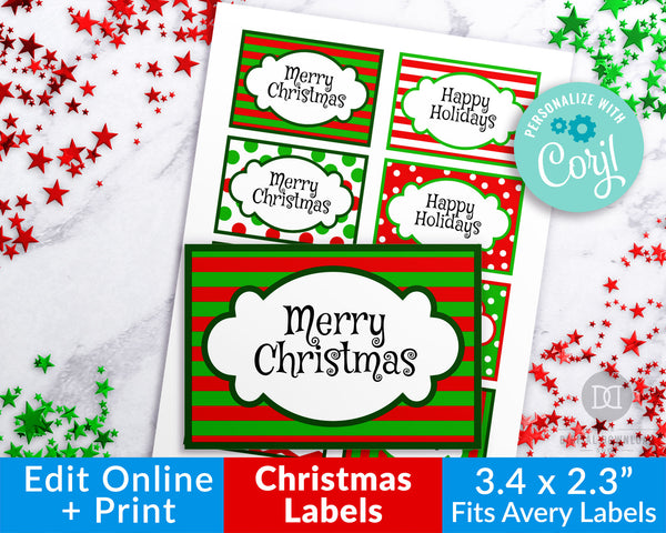 Christmas Labels Printable Editable- Big Rectangles