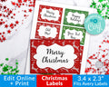 Ugly Sweater Christmas Labels Editable Printable *EDIT ONLINE*