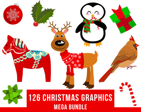 126 Christmas Clipart Mega Bundle