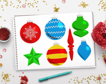 40 Christmas Ornaments Clipart
