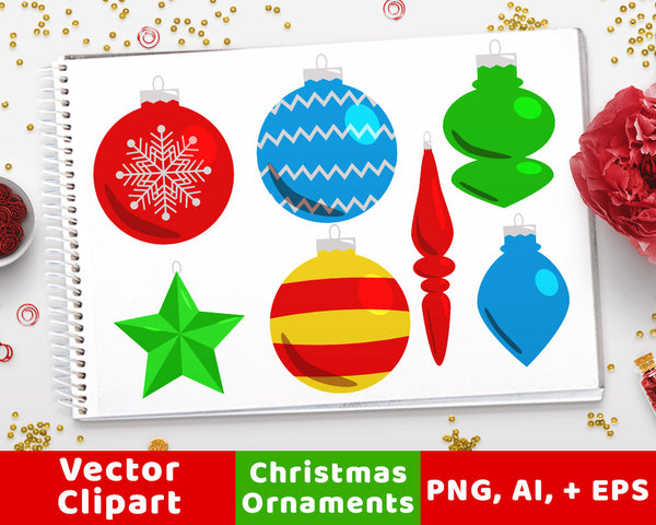 40 Christmas Ornaments Clipart - The Digital Download Shop