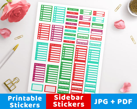 Christmas Sidebar Printable Planner Stickers