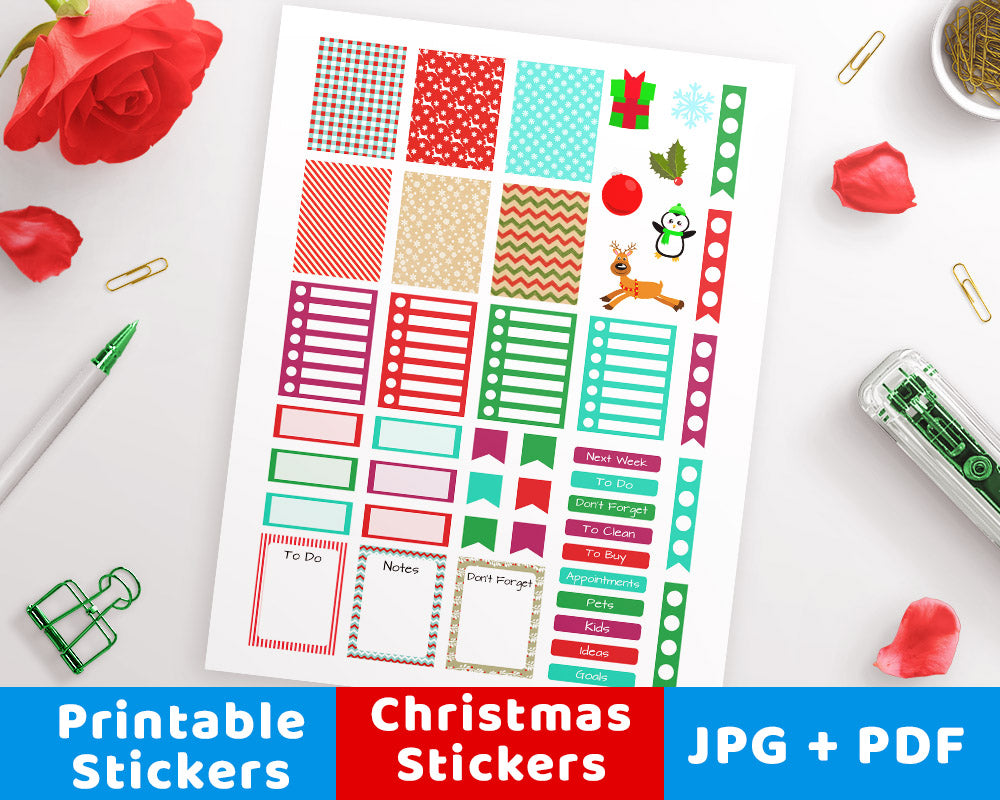 image about Printable Christmas Stickers identify Xmas Printable Planner Stickers