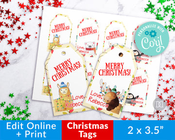 Animal Christmas Tags Editable Template *EDIT ONLINE*