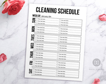 Free Printable Cleaning Schedule Editable- Black and White