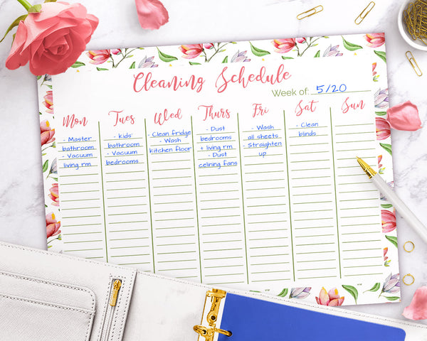 Weekly cleaning schedule template printable with gorgeous watercolor florals. Use this printable cleaning checklist to create your chore list for the week.