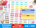 College Reminders Printable Planner Stickers