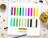 Colored Pencil Clipart- The Digital Download Shop