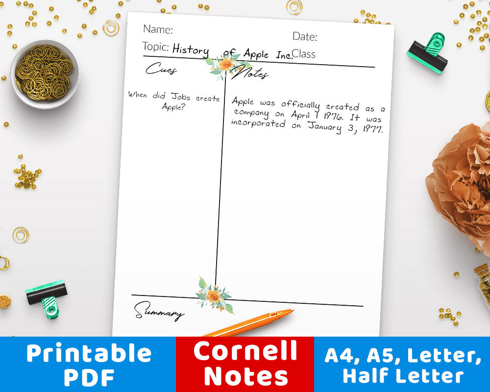 image regarding Cornell Notes Template Printable identify Cornell Notes Template Printable- Watercolor Floral