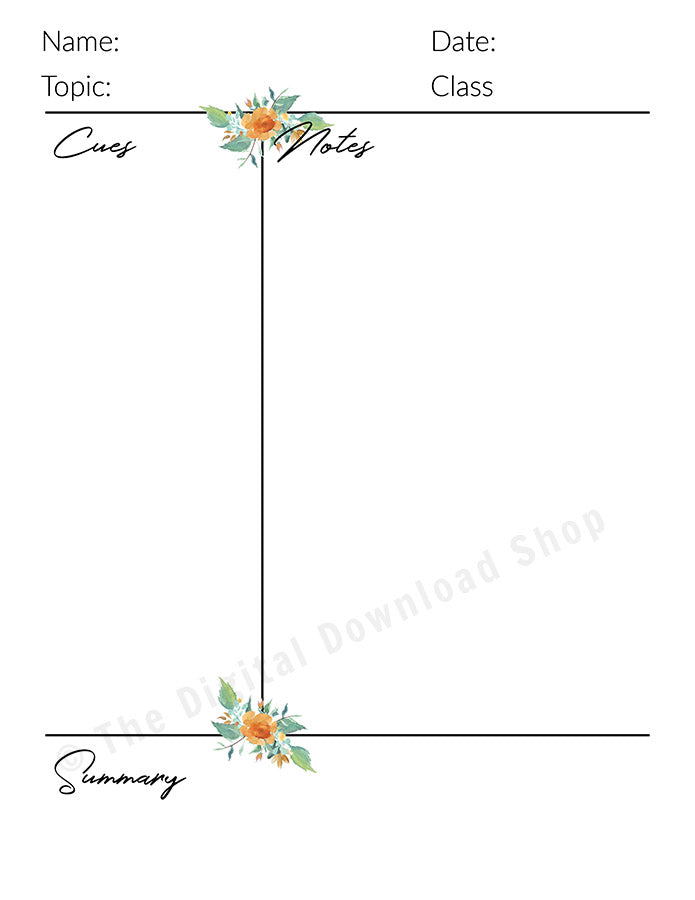 Cornell Notes Template Printable Watercolor Floral