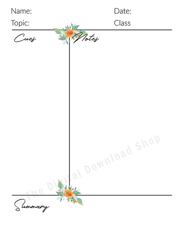 Cornell Notes Template Printable- Watercolor Floral- The Digital Download Shop