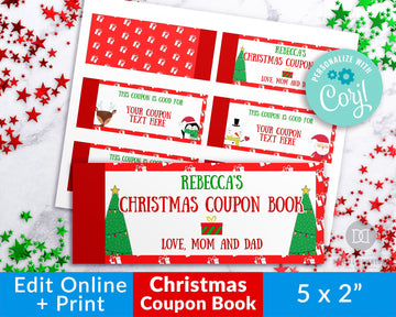 Christmas Coupon Book Template- Characters *EDIT ONLINE*