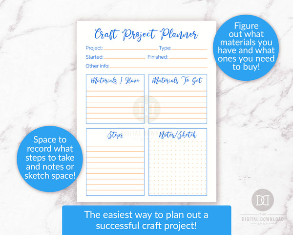 Craft project planner printable. Use this craft planner to plan for success with your next craft project, whether it's a personal project or a craft you intend to sell!