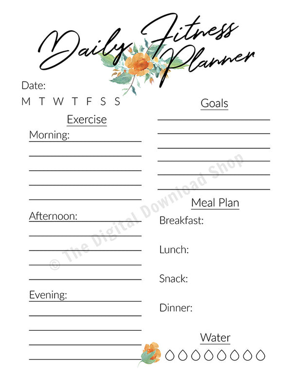 Daily Fitness Planner Printable