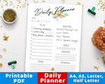 Daily Planner Printable- Floral Watercolor- The Digital Download Shop