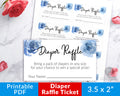Diaper Raffle Tickets Printable- Blue Boy Baby Shower