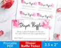 Diaper Raffle Tickets Printable- Pink Girl Baby Shower