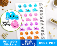 Dish Washing Printable Planner Stickers