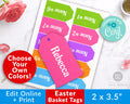 Easter Basket Tags Printable- Choose Your Own Colors *EDIT ONLINE*