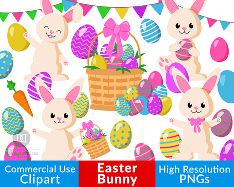 Easter Bunny Clipart- This Easter graphics set includes adorable Easter bunnies, pretty Easter eggs, and more that would be perfect for making DIY Easter basket tags and homemade Easter cards! | commercial use clipart, #EasterBunny #clipart #DigitalDownloadShop