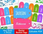 Easter Basket Name Tags Printable Editable