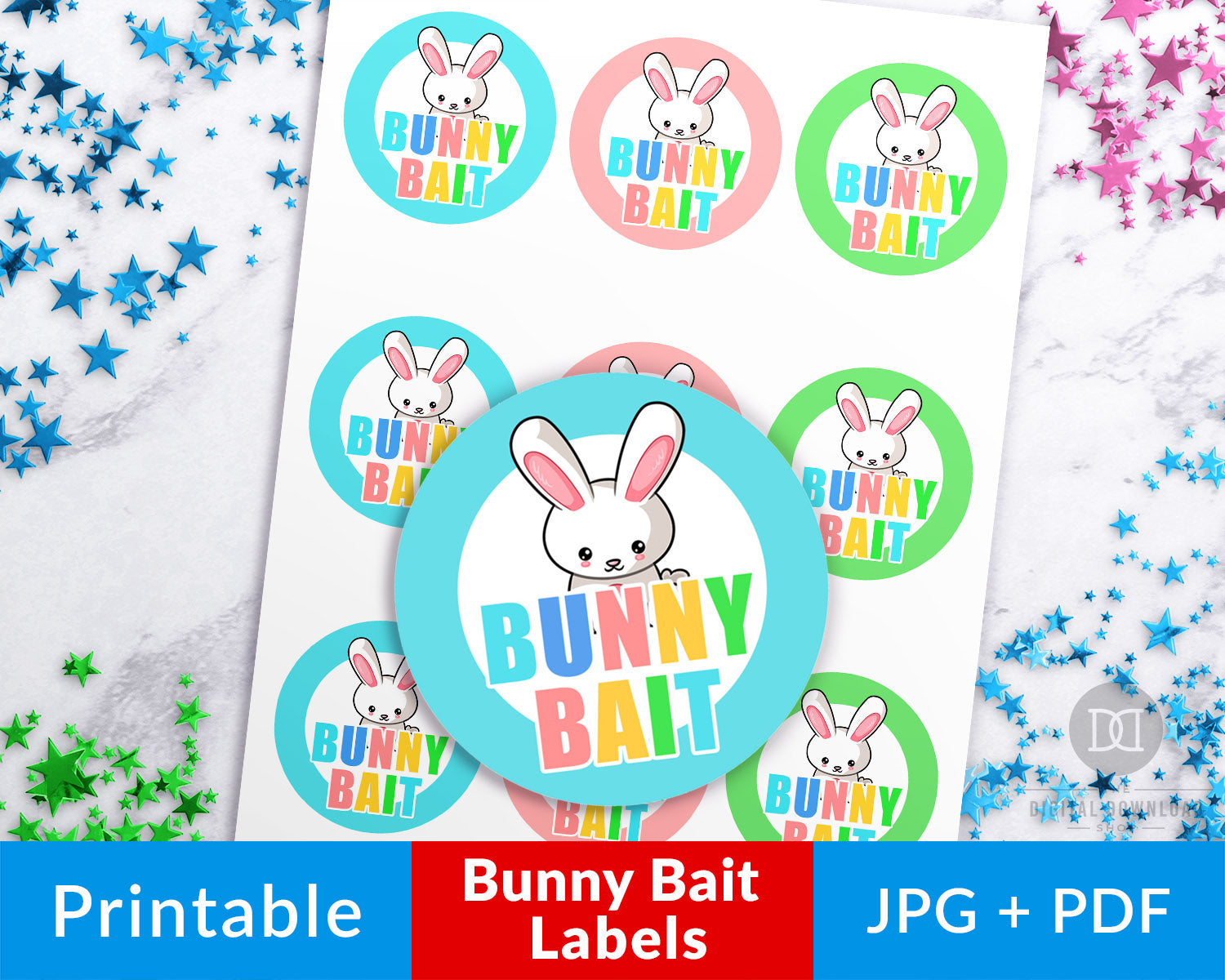 picture about Easter Labels Printable named Easter Bunny Bait Stickers Printable